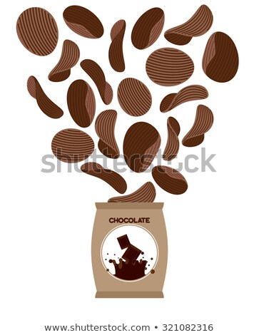 Chocolate chips. Unusual snacks for sweet tooth. Fly Brown chips Stock photo © popaukropa