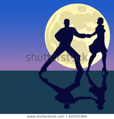 Couple dancing on fullmoon night Stock photo © bluering