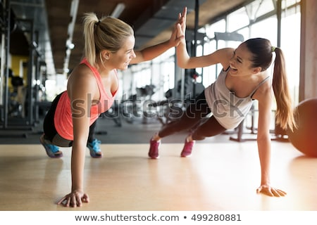 gymnase · fitness · souriant · âgées · couple - photo stock © dash