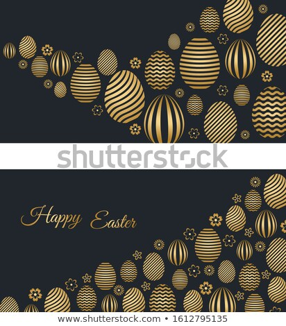 Easter Background with Two Easter Eggs on Black Stock photo © derocz