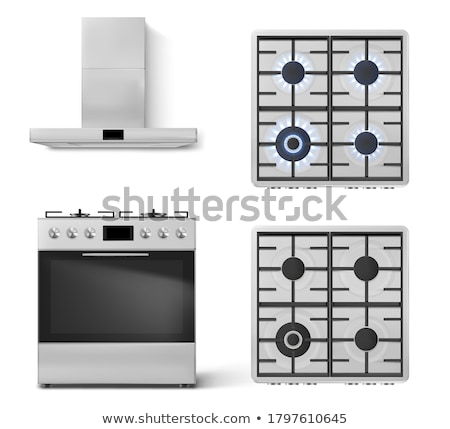 lit gas ring on oven hob stock photo © is2
