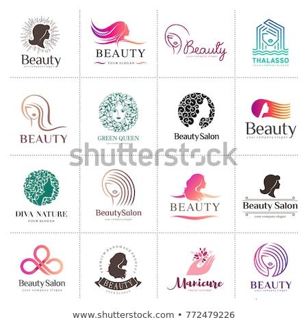 feminino · design · de · logotipo · belo · cara · cabelo · logotipo - foto stock © Vicasso