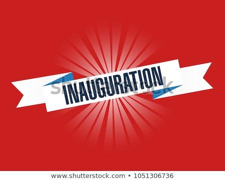 Inauguration red waving ribbon sign illustration design graphic Stock photo © alexmillos