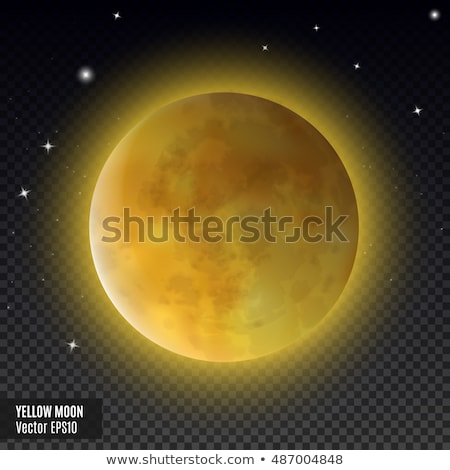 Moon Yellow on a white background. Vector cartoon planet. Stock photo © popaukropa
