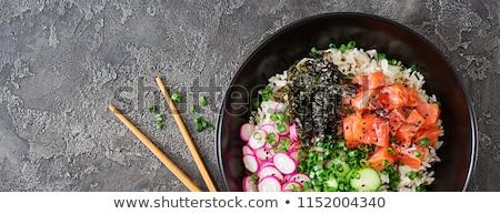 Buddha Schüssel Essen Holz Abendessen Salat Stock foto © M-studio