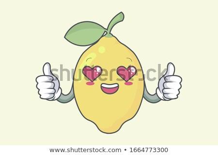 Liefhebbend Geel citroen vruchten cartoon gezicht Stockfoto © hittoon