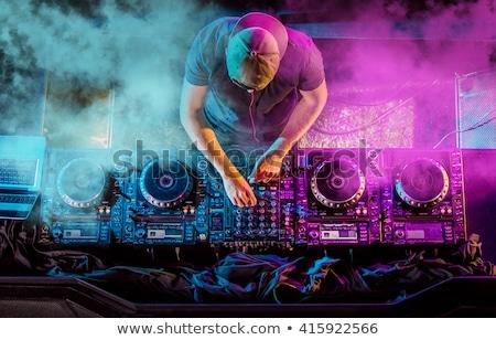 Jonge knap deejay jongen spelen handen Stockfoto © hsfelix
