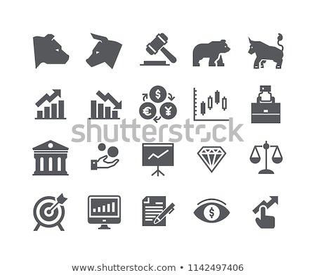 Stock photo: Bear silhouette with target  icon