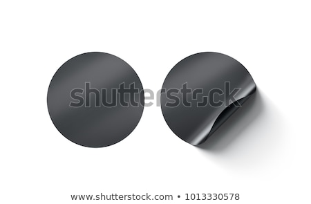 Blank black circle stickers with curved corner 3D Stock photo © djmilic