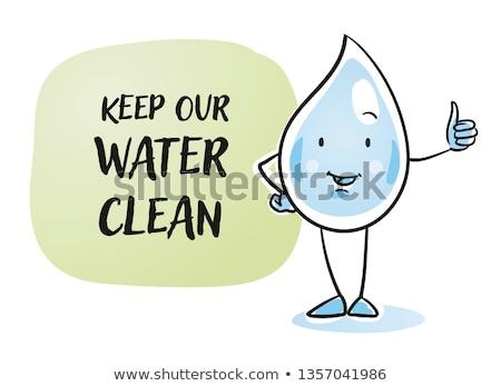 Czyste brudne kroplami wody maskotka cartoon charakter odizolowany Zdjęcia stock © hittoon