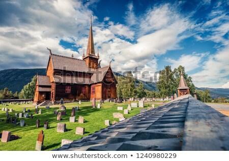 Kilise Norveç korunmuş kereste binalar harika Stok fotoğraf © Kotenko