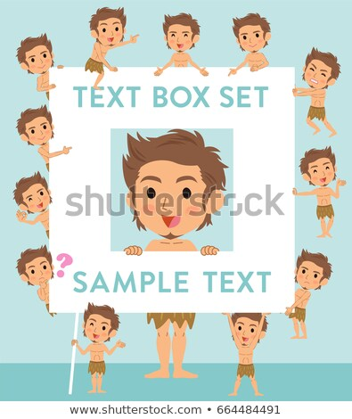 Primitive man loincloth style text box stock photo © toyotoyo