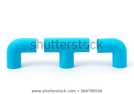 new blue plastic pvc pipe in t shape for connect 3 pipes isolate stock photo © ungpaoman