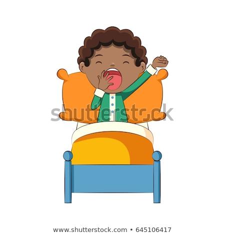 Gyerek fiú jóreggelt tipográfia illusztráció aranyos Stock fotó © lenm