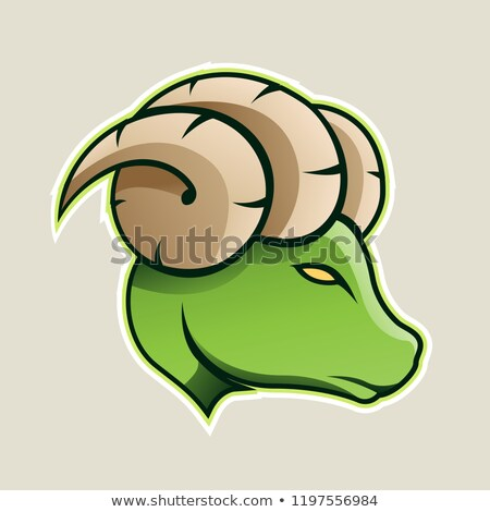 green aries or ram icon front view vector illustration stock photo © cidepix