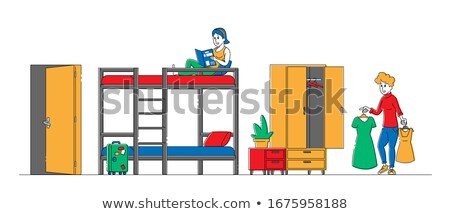 Young People In Bed Booking Holidays On Line Stock photo © diego_cervo