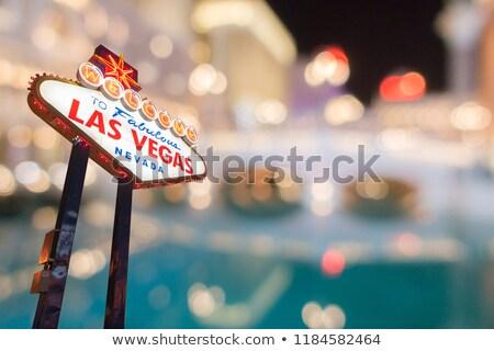 Foto stock: Famoso · Las · Vegas · assinar · borrão · cityscape · noite