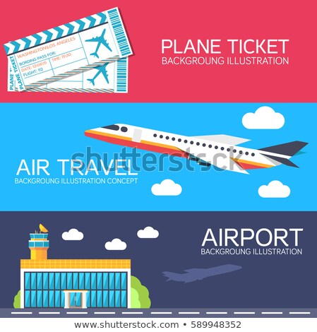 flat building airport with flying plane tour and ticket concept banners or card.  Vector illustratio Stock photo © Linetale