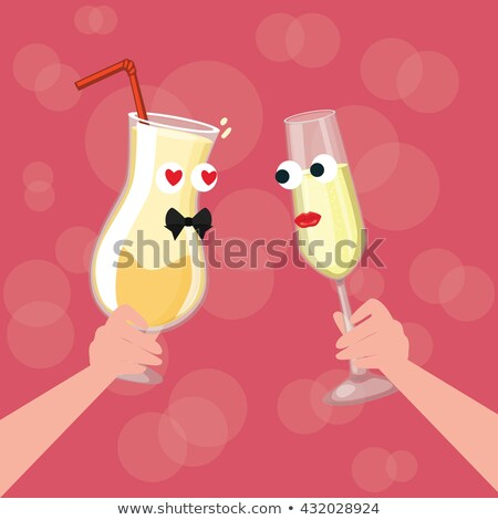 young couple drinking wine from glasses in a restaurant vector isolated illustration stock photo © pikepicture