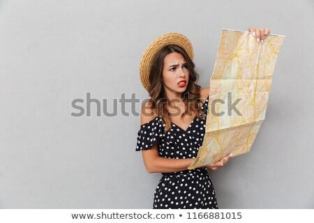 молодые · брюнетка · девушки · карта · город - Сток-фото © deandrobot