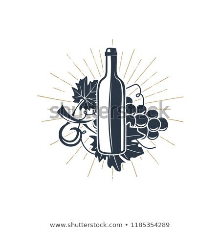 black wine bottle with sunbursts for vineyard logo winery badge wine club bar cafe or restaurant stock photo © jeksongraphics
