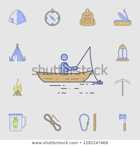 fishes set and fishing tools collection color card stock photo © robuart