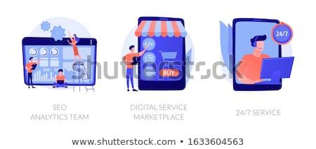 顧客サービス · 薄い · 行 · アイコン · ウェブ · 携帯 - ストックフォト © robuart