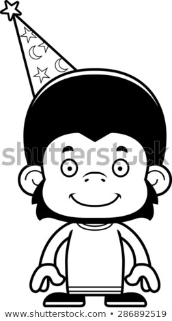Cartoon Smiling Wizard Chimpanzee Stock photo © cthoman