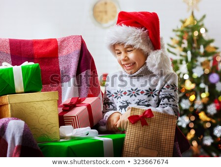 Stock fotó: Mikulás · örömteli · gyerekek · kicsi · karácsonyfa · szarvas