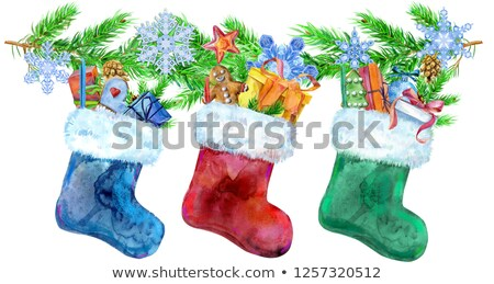 Christmas colorfull socks with gifts and spruce branches. Watercolor illustration. Isolated. Stock photo © Natalia_1947