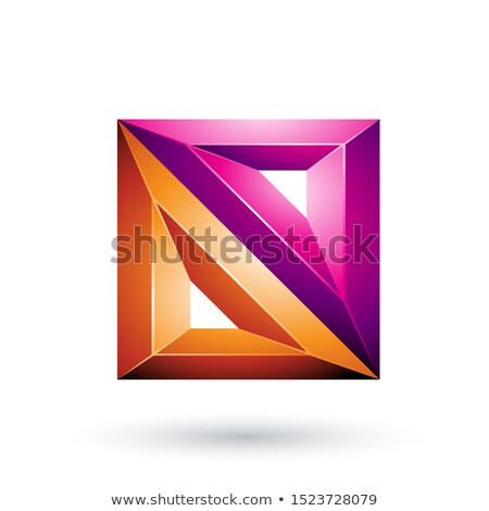 magenta and orange 3d geometrical embossed triangles and square stock photo © cidepix