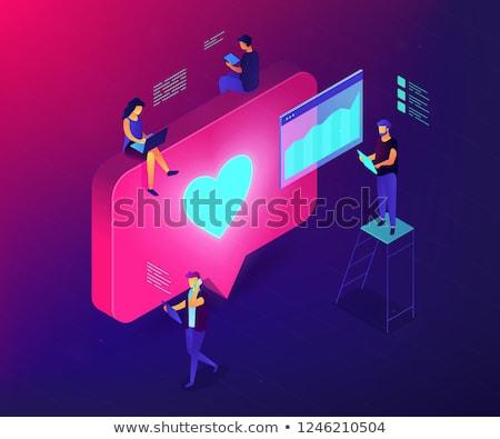 ソーシャルメディア エンゲージメント アイソメトリック 3次元の図 アナリスト 作業 ストックフォト © RAStudio