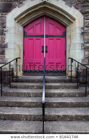 templom · ajtók · öreg · fából · készült · zárva · város - stock fotó © bobkeenan