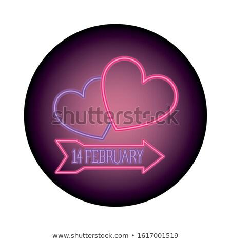 14 neon címke románc promóció boldog Stock fotó © Anna_leni
