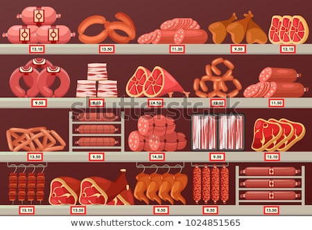 Stock photo: ham at grocery store stall