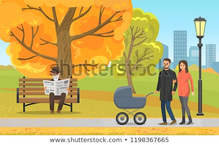 Autumn Park, Parents with Pram and Elderly Man Stock photo © robuart