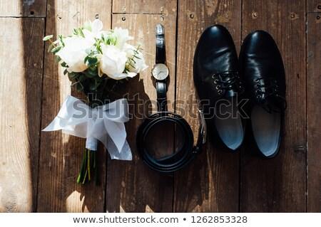 Casamento noivo sapatos buquê cinto Foto stock © ruslanshramko
