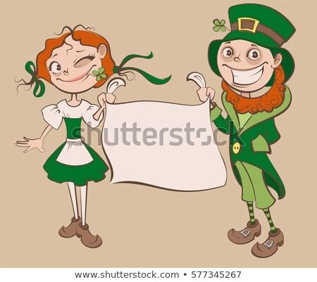 Cartoon улыбаясь ирландский женщину женщина улыбается клевера Сток-фото © cthoman