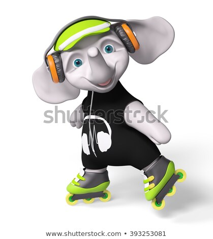 an elephant playing roller skate stock photo © colematt