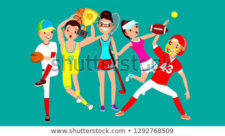 athlete set vector man woman baseball basketball field hockey tennis american football group stock photo © pikepicture