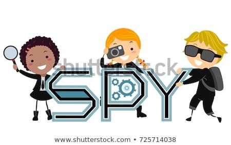 дети шпиона иллюстрация увеличительное стекло камеры Сток-фото © lenm