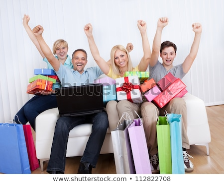 Happy Family Mother Father, Daughter Xmas Shopping Stock photo © robuart
