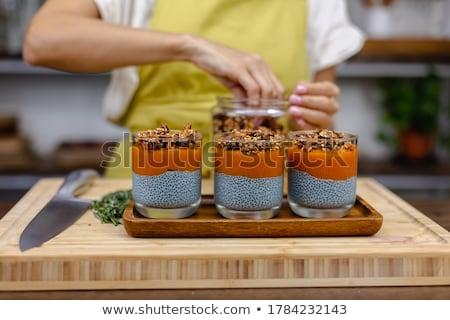 Nasion pudding mleka świeże mango Zdjęcia stock © galitskaya
