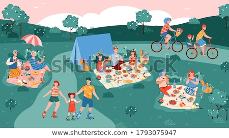 people have active leisure in park cartoon banner stock photo © robuart