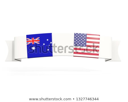 Banner with two square flags of United States and australia Stock photo © MikhailMishchenko