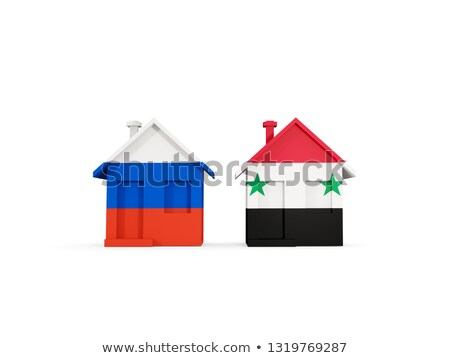 Twee huizen vlaggen Rusland Syrië geïsoleerd Stockfoto © MikhailMishchenko
