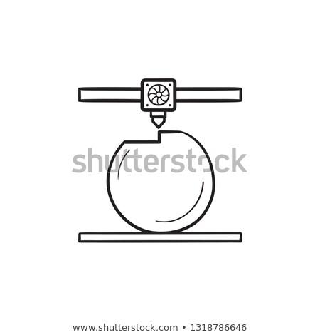 3d printer prints the ball hand drawn outline doodle icon stock photo © rastudio