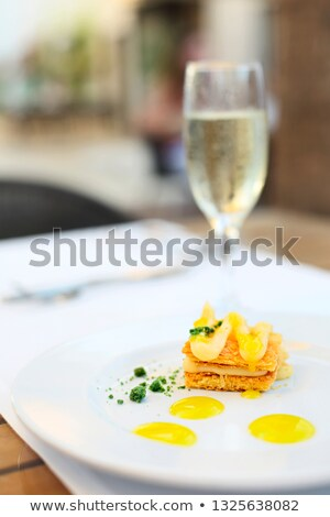 Milfey cake with lemon cream on the plate Stock photo © dashapetrenko