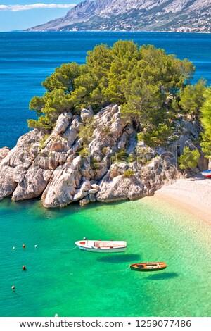 Idyllic emerald beach and boats in Brela aerial vertical view stock photo © xbrchx