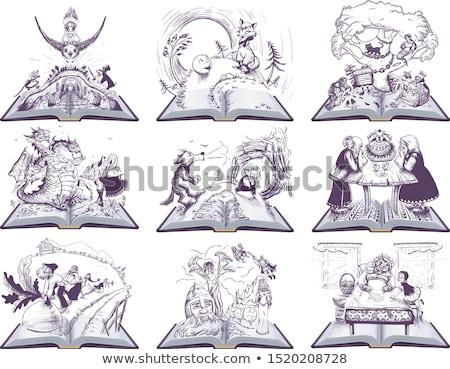 russian tale of turnip open book cartoon illustration stock photo © orensila